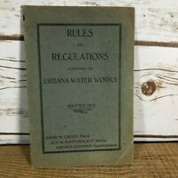Vintage 1914 Rules and Regulations Governing the Urbana Water Works Ohio Booklet