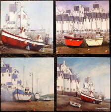 Dale Bowen Set di 4 schede di arte del suo ECCENTRICO Harbour Scene Greetings Cards