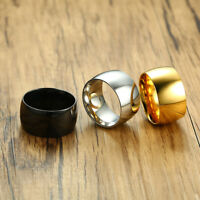 11.5mm Men's Silver/ Gold/ Black Band Stainless Steel Engagement Ring Size 7-12