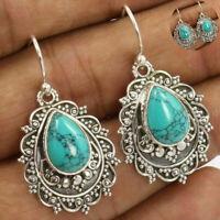 Boho Women Tibetan 925 Silver Dangle Drop Hook Turquoise Earrings Jewelry Gift