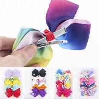 JOJO SIWA 6 Pcs/Set Rainbow Printed Knot Ribbon Bow Hair Chip For Kids Girls U7