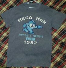Mega Man Running & Gaming Since 1987 Blue Shirt Boys Size (Small)