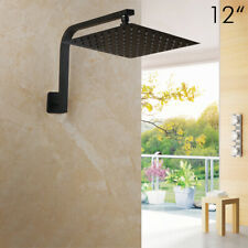 12''Bathroom Black Rainfall Shower Head Wall Mounted Gooseneck Shower Faucet Set