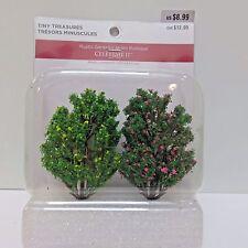 """Tiny Treasures Miniature Figurine Village, 2 FLOWERING TREES 3"""", Unopened Pkg"""