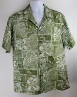 Vintage RJC Hawaiian Aloha Camp Shirt Mens Large Green Floral Made Hawaii USA