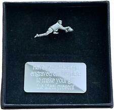 Personalised Gift Box & Hand Made Pewter Ice Curler Pin Badge Engraved Free