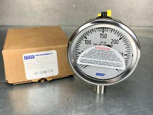 """Wika 9833549 Industrial Pressure Gauge, 300 PSI, 1/4"""" NPT, 2-1/2"""", Stainless"""