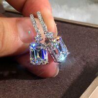 Square Zircon Dangle Drop Earrings Crystal CZ Earrings Elegant Women Jewellery