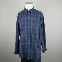 Nautica Button Down Shirt Mens L Blue Green Long Sleeve Cotton Plaid Casual