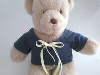 Teddy Bear Clothes, Handmade Navy Blue Jersey T-Shirt, Yellow & White Trim