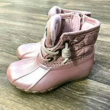 Sperry Top Sider Saltwater Boot Pink Duck Boots Infant Toddler Size 7 Waterproof