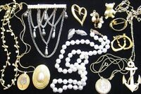 Reed & Barton*Rhinestones*Giusti*Monet*Anchor Pendant Vintage Jewelry Lot*D682
