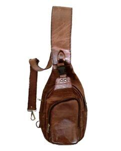 Bag Vintage Genuine Leather Chest Men Sling Pack Shoulder Cross body Handmade