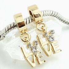 Hot 1pcs gold CZ European Charm Beads Fit 925 Necklace Bracelet Chain DIY