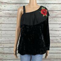 Simply Irresistible Velour Mesh Rose Floral Blouse Shirt LARGE Black Asymmetric