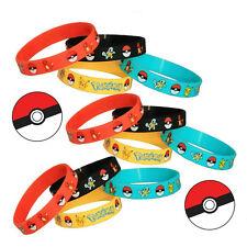 Lot 4PCS Kawaii Pokemon Go Pikach Wristband Silicone Bracelet Party Gifts Bangle