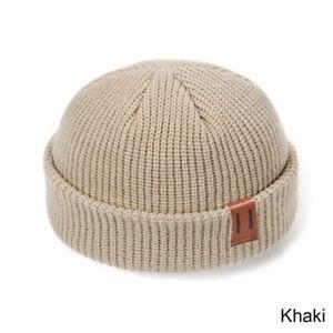 Warm Men Mini Fisherman Beanie Hat Knitted Ribbed Docker Skull Cap Winter Women