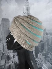 PRINTED INSTRUCTIONS-STRIPE BEEHIVE TURBAN HAT KNITTING PATTERN