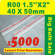 "5000 x R00 40X50mm(1.5""X2"") Resealable/ Zip Lock ZipLock Plastic Seal Bags"