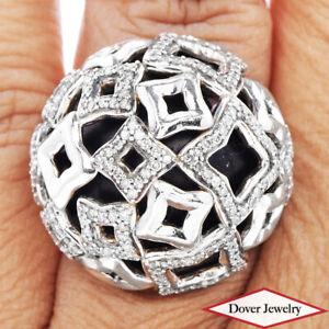 DAVID YURMAN Diamond Sterling Silver Quatrefoil Dome Ring 22.1 Grams NR
