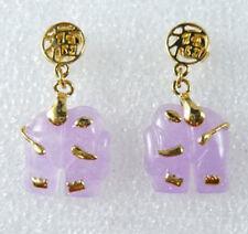 Purple Jade Yellow Gold Plated Fortune Stud Elephant Earrings