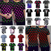 Sommer Herren Damen Kurzarm 3D-Druck Vision T-Shirts Kurzarm Graphic Tee Tops
