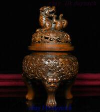 """6"""" Old Chinese Boxwood Wood Carved Foo Dog Lion Statue Incense Burner Censer"""