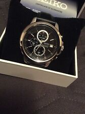 Original Price £199.99 Brand New Seiko Men's Black Dial Chrono Strap Watch.
