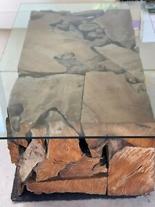 Coco Republic Tree Trunk Coffee Table with Glass Top