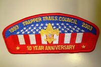 OA TRAPPER TRAILS COUNCIL PATCH CSP US FLAG 10TH ANN 2003 RED BRDR SERVICE FLAP