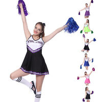 High School Cheer Girl Uniform Cheerleader Fancy Dress Costume Outfit +Pompoms