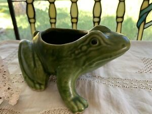 Vintage Sage Green Ceramic Glazed Pottery Frog/ Toad Planter