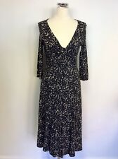 LK BENNETT BLACK,GREY & WHITE PRINT STRETCH JERSEY DRESS SIZE 12