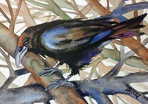 "Watercolor the raven original 7""x10"" crow black bird art by Anne Gorywine"
