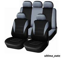 9 pcs Full Grey-Black Fabric Car Seat Covers Set UNIVERSAL WASHABLE IN BAG