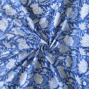5 Yard Indian hand block print 100% Cotton Indigo Dabu Jaipuri Anokhi Fabric