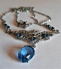 """Vintage Art Deco Blue Open Back Glass Drop Necklace 17"""""""