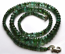 "93.CT18"" Natural Green Zambia Emerald Smooth Rondelle beads Necklace 2.5.- 8.5MM"