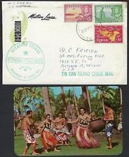 TONGA 1960 CANOE MAIL MAILED AT SEA ON SS MARIPOSA POST CARD ENCLOSED