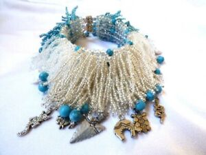 """Chunky Blue & White Turquoise Glass Seed Multi Bead Fringe Bracelet 8.25"""" Fetish"""