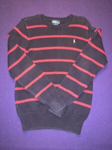 Polo Ralph Lauren Boys Large Blue Sweater With Red Stripe