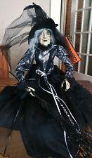 Creepy Halloween Shelf Sitter Witch Doll  Spooky Night Black Gown Decor NEW