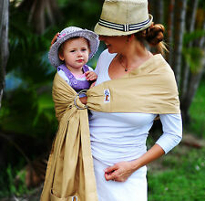 WALKABOUT Baby Sling Ring Carrier Wrap Pouch Beige Latte Pure Cotton RRP$59 NEW