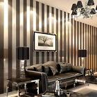 10m Modern Minimalist Non-woven Vertical Stripes Wallpaper Roll Black gray 5.3㎡