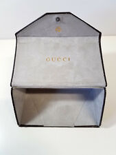 GUCCI Collapsable Leather Glasses Case Brown 3 x 3 x 3 inch