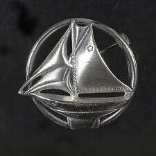 Beautiful sterling silver pin classic w sailboat motif boat water sailing ID#676