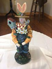 "Vintage 20"" Easter Bunny Farmer Birdhouse overalls flowers plaster of paris"