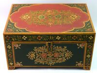 Vintage Indian Beautiful Keep Safe Box - Hand Painted Old Chest Box. i71-186 AU