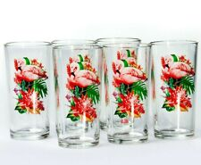 6 Tall Drinking Glasses with Pink Flamingos Decal 8 fl oz Highball Tumbler