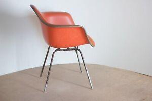 MCM Eames Herman Miller Naugahyde Shell Armchair 1960s Orange Bronze